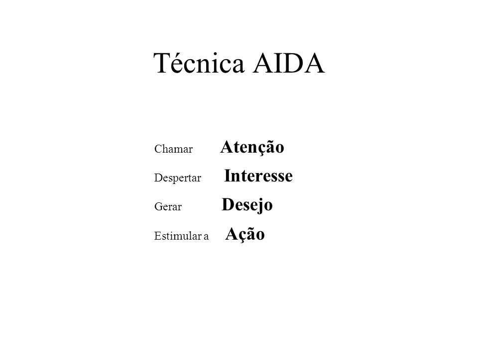 Técnica AIDA Chamar Atenção Despertar Interesse Gerar Desejo Estimular a Ação