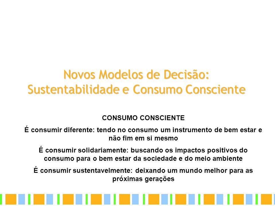 Novos Modelos de Decisão: Sustentabilidade e Consumo Consciente CONSUMO CONSCIENTE É consumir diferente: tendo no consumo um instrumento de bem estar