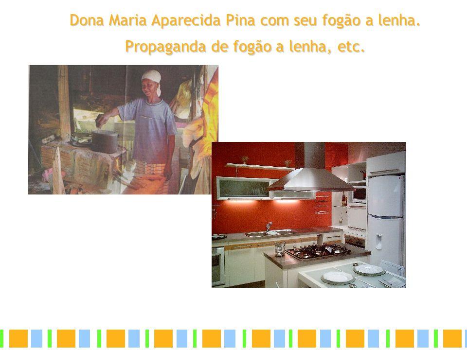 Dona Maria Aparecida Pina com seu fogão a lenha. Propaganda de fogão a lenha, etc.