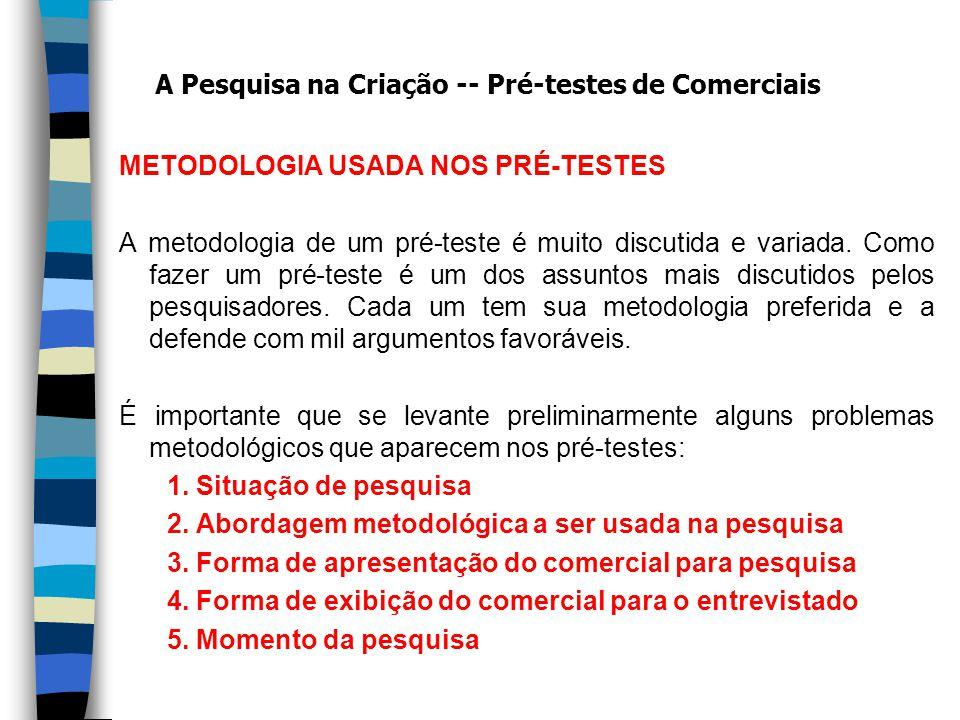 METODOLOGIA USADA NOS PRÉ-TESTES A metodologia de um pré-teste é muito discutida e variada.