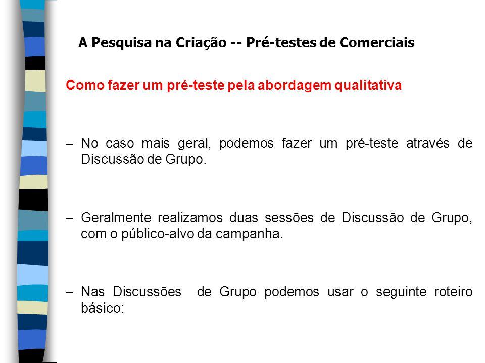 Como fazer um pré-teste pela abordagem qualitativa –No caso mais geral, podemos fazer um pré-teste através de Discussão de Grupo.