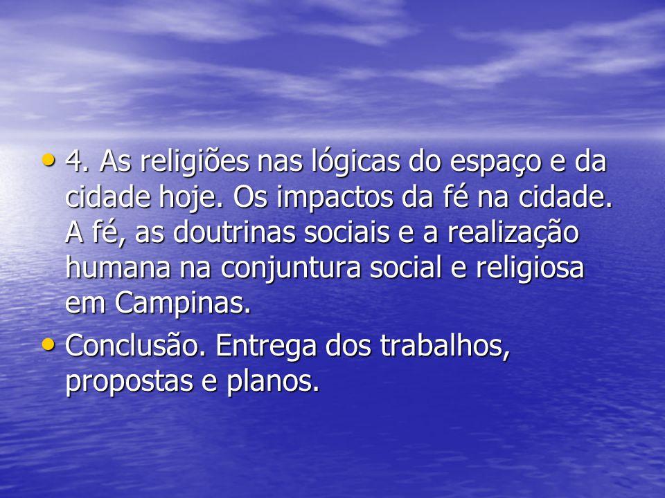 4. As religiões nas lógicas do espaço e da cidade hoje. Os impactos da fé na cidade. A fé, as doutrinas sociais e a realização humana na conjuntura so