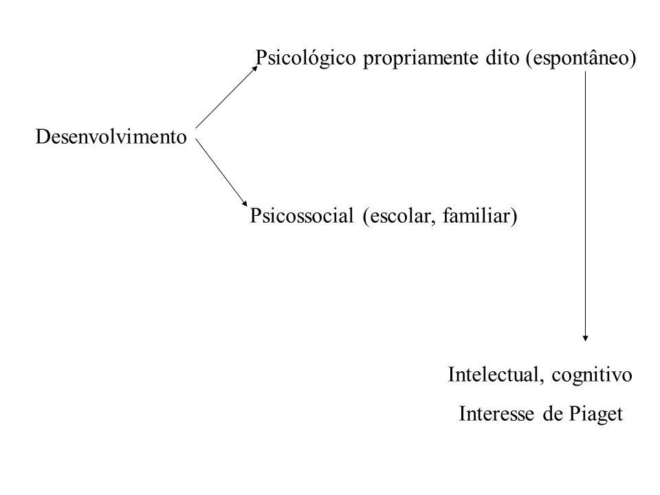 Psicológico propriamente dito (espontâneo) Desenvolvimento Psicossocial (escolar, familiar) Intelectual, cognitivo Interesse de Piaget