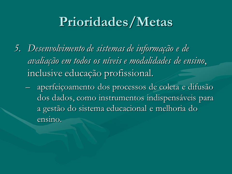 Prioridades/Metas 5.Desenvolvimento de sistemas de informação e de avaliação em todos os níveis e modalidades de ensino, inclusive educação profission