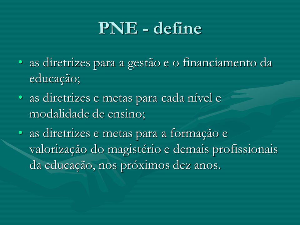 PNE - define as diretrizes para a gestão e o financiamento da educação;as diretrizes para a gestão e o financiamento da educação; as diretrizes e meta