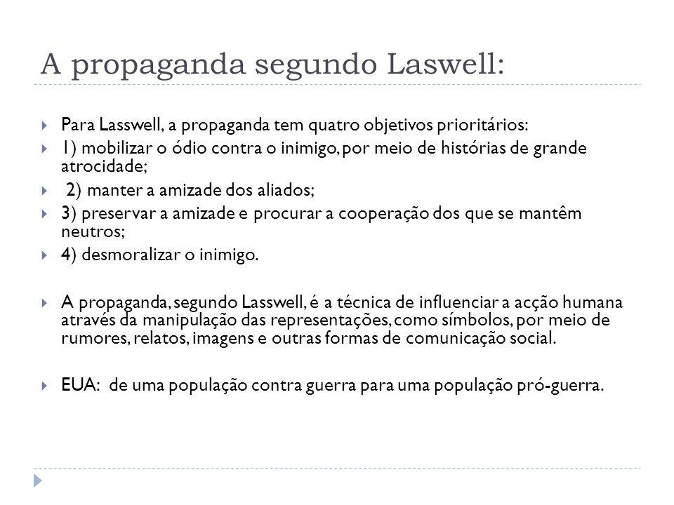 A propaganda segundo Laswell: Para Lasswell, a propaganda tem quatro objetivos prioritários: 1) mobilizar o ódio contra o inimigo, por meio de históri