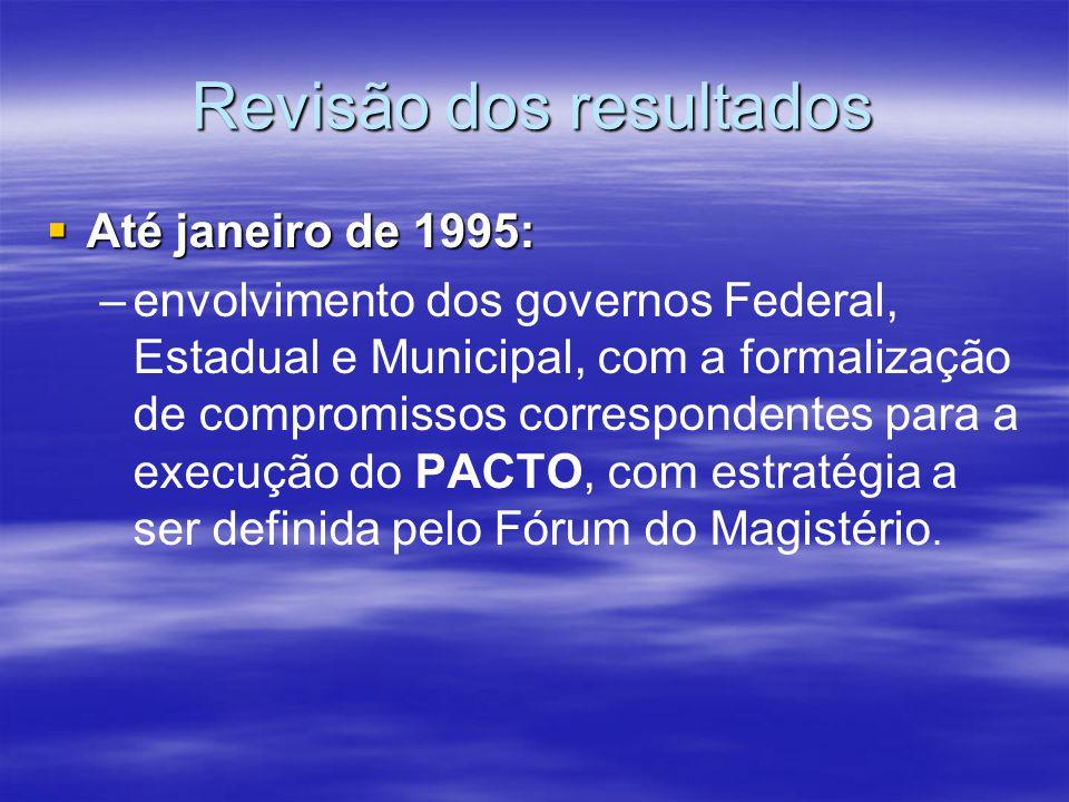 Revisão dos resultados Até janeiro de 1995: Até janeiro de 1995: – –envolvimento dos governos Federal, Estadual e Municipal, com a formalização de com