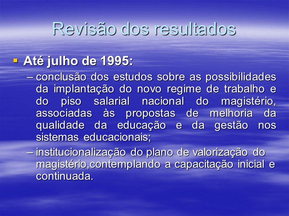 Revisão dos resultados Até julho de 1995: Até julho de 1995: –conclusão dos estudos sobre as possibilidades da implantação do novo regime de trabalho