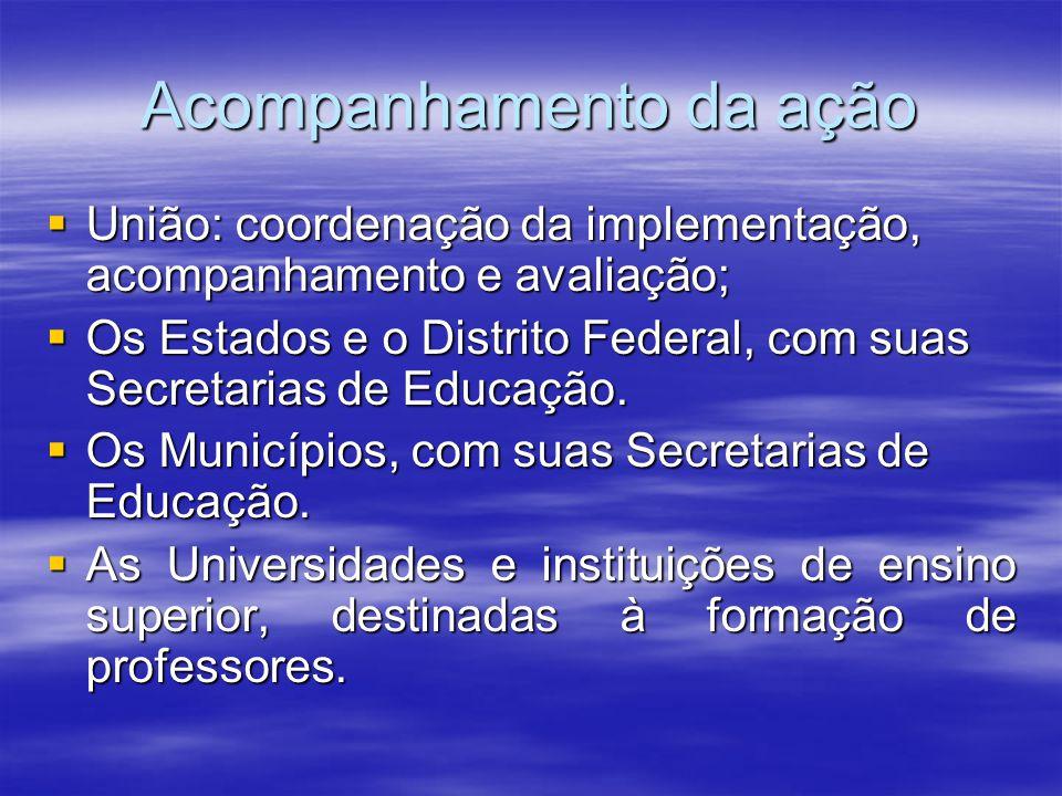 Acompanhamento da ação União: coordenação da implementação, acompanhamento e avaliação; União: coordenação da implementação, acompanhamento e avaliaçã