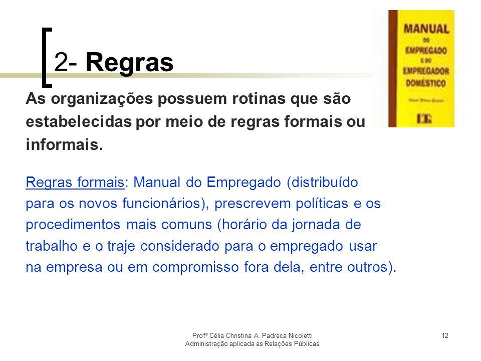 Profª Célia Christina A. Padreca Nicoletti Administração aplicada as Relações Públicas 12 2- Regras As organizações possuem rotinas que são estabeleci