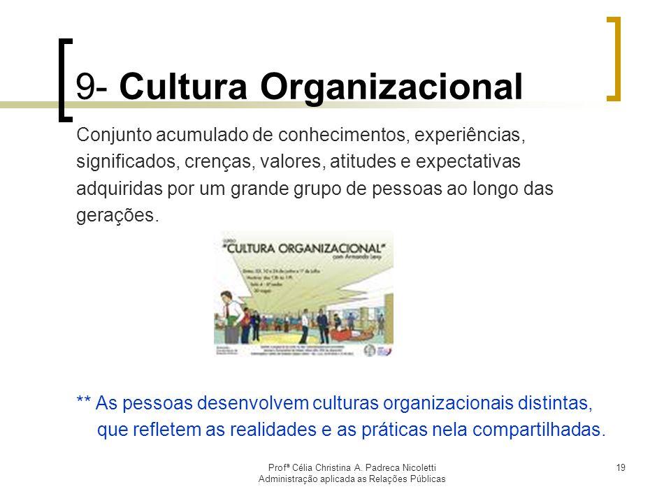 Profª Célia Christina A. Padreca Nicoletti Administração aplicada as Relações Públicas 19 9- Cultura Organizacional Conjunto acumulado de conhecimento