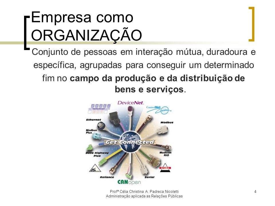 Profª Célia Christina A. Padreca Nicoletti Administração aplicada as Relações Públicas 4 Empresa como ORGANIZAÇÃO Conjunto de pessoas em interação mút