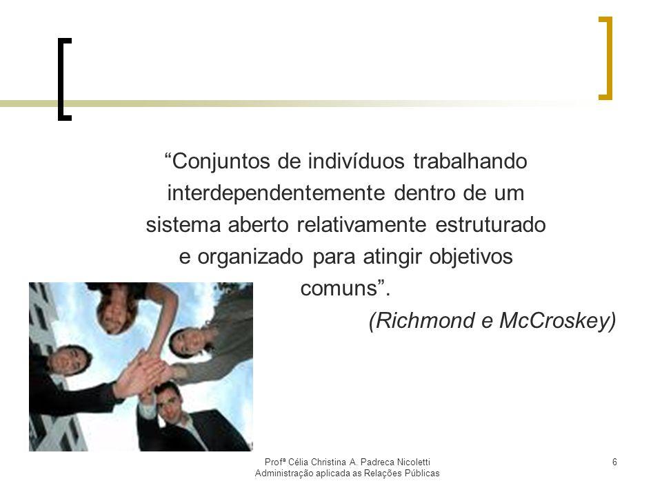 Profª Célia Christina A. Padreca Nicoletti Administração aplicada as Relações Públicas 6 Conjuntos de indivíduos trabalhando interdependentemente dent