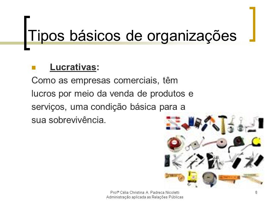 Profª Célia Christina A. Padreca Nicoletti Administração aplicada as Relações Públicas 8 Tipos básicos de organizações Lucrativas: Como as empresas co
