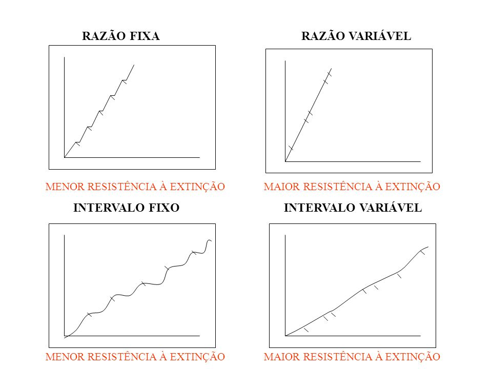 RAZÃO FIXA RAZÃO VARIÁVEL MENOR RESISTÊNCIA À EXTINÇÃO MAIOR RESISTÊNCIA À EXTINÇÃO INTERVALO FIXO INTERVALO VARIÁVEL MENOR RESISTÊNCIA À EXTINÇÃO MAI