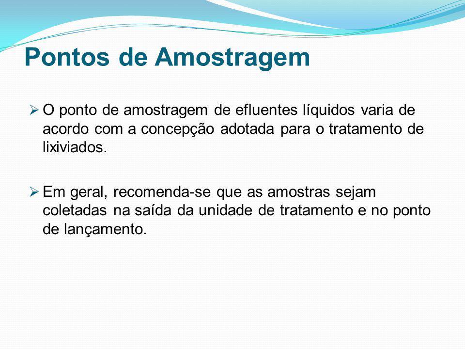Pontos de Amostragem O ponto de amostragem de efluentes líquidos varia de acordo com a concepção adotada para o tratamento de lixiviados. Em geral, re
