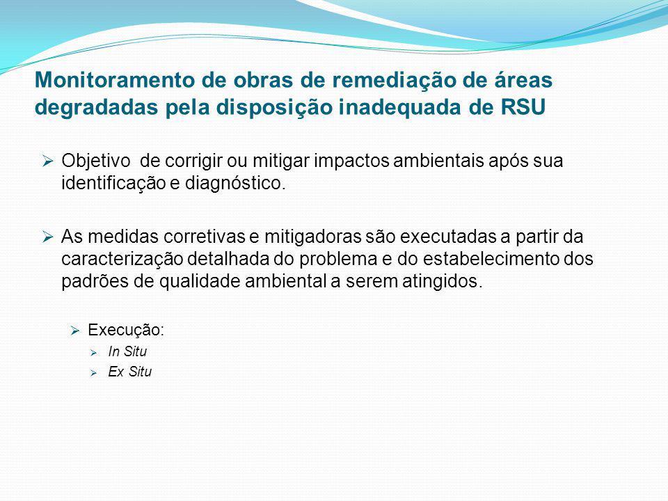 Monitoramento de obras de remediação de áreas degradadas pela disposição inadequada de RSU Objetivo de corrigir ou mitigar impactos ambientais após su