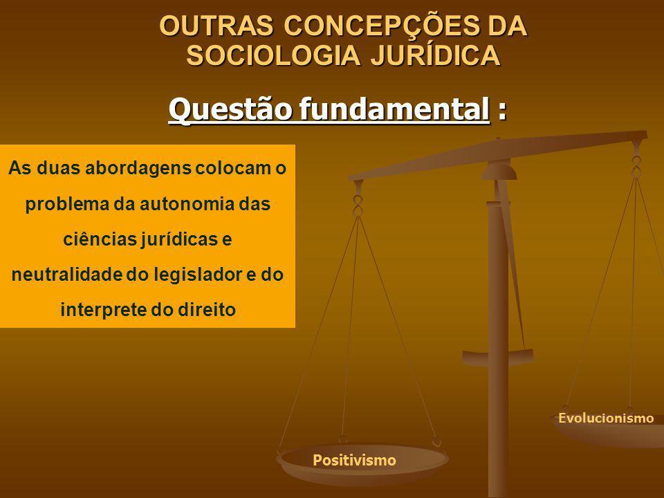 OUTRAS CONCEPÇÕES DA SOCIOLOGIA JURÍDICA Questão fundamental : As duas abordagens colocam o problema da autonomia das ciências jurídicas e neutralidad