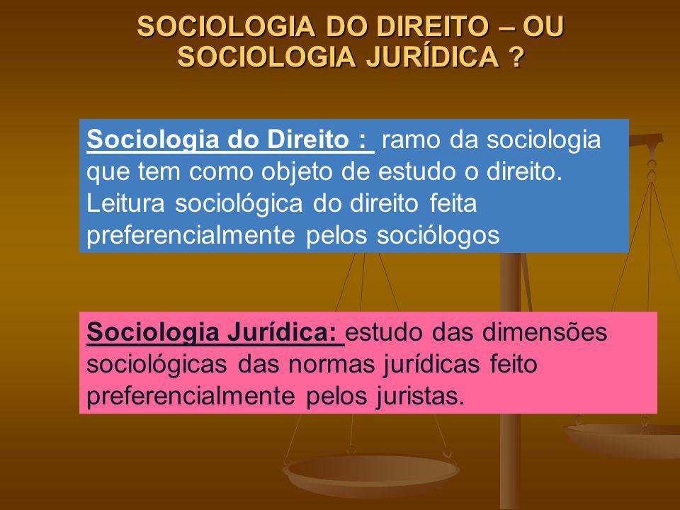 Sociologia Jurídica: estudo das dimensões sociológicas das normas jurídicas feito preferencialmente pelos juristas. Sociologia do Direito : ramo da so
