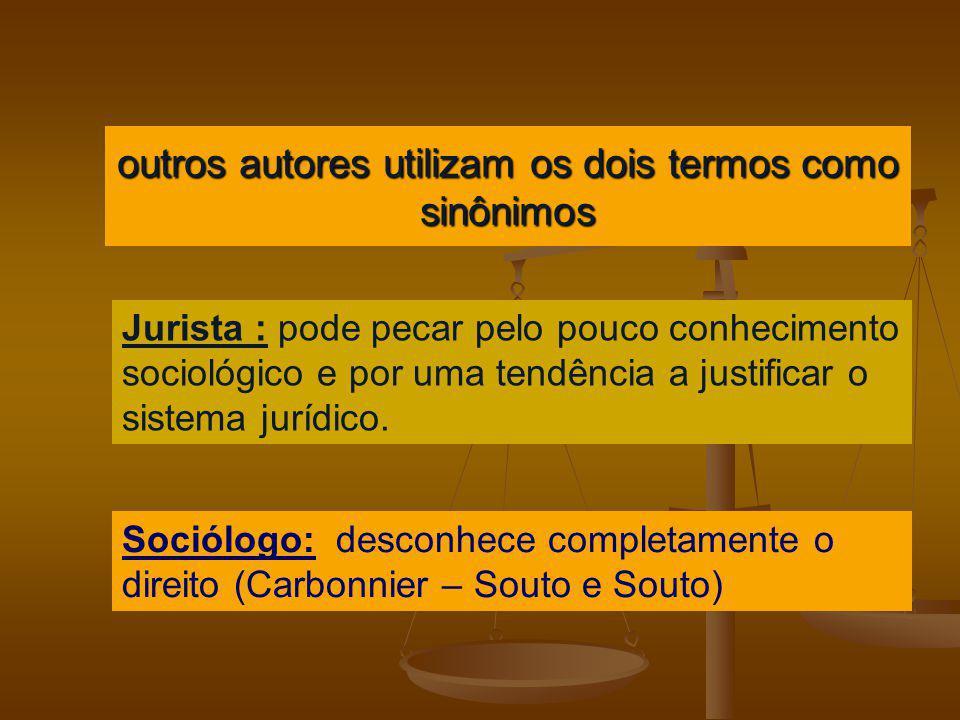 outros autores utilizam os dois termos como sinônimos Jurista : pode pecar pelo pouco conhecimento sociológico e por uma tendência a justificar o sist