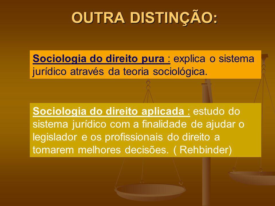 OUTRA DISTINÇÃO: Sociologia do direito pura : explica o sistema jurídico através da teoria sociológica. Sociologia do direito aplicada : estudo do sis