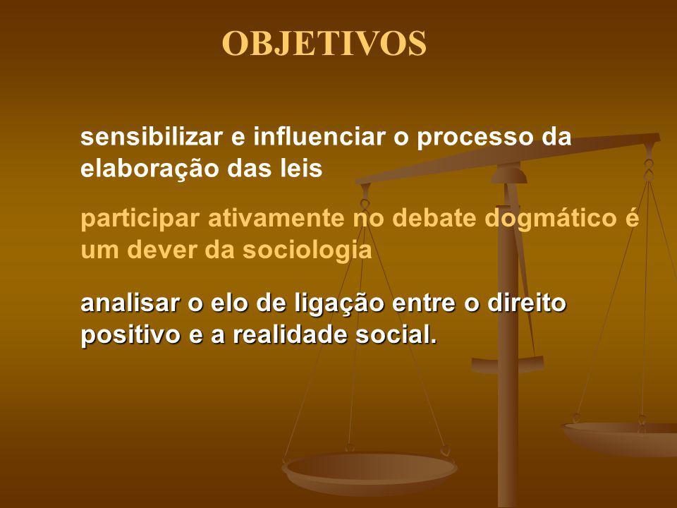 sensibilizar e influenciar o processo da elaboração das leis participar ativamente no debate dogmático é um dever da sociologia analisar o elo de liga