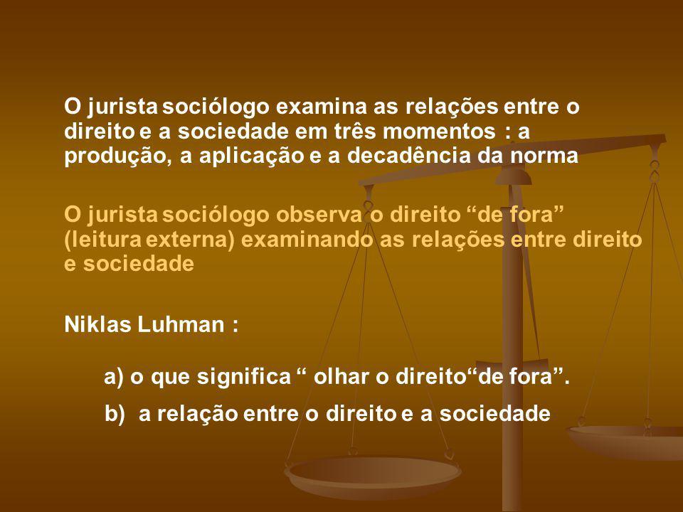 O jurista sociólogo examina as relações entre o direito e a sociedade em três momentos : a produção, a aplicação e a decadência da norma O jurista soc