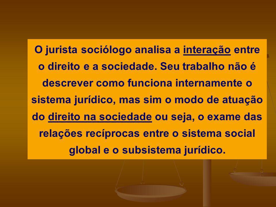 O jurista sociólogo analisa a interação entre o direito e a sociedade. Seu trabalho não é descrever como funciona internamente o sistema jurídico, mas
