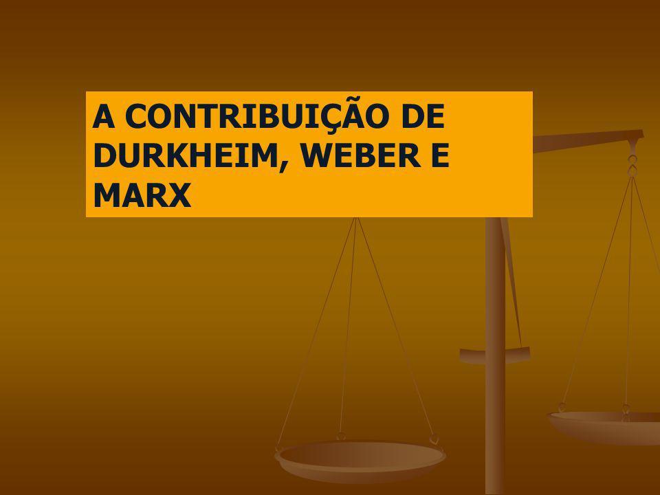 A CONTRIBUIÇÃO DE DURKHEIM, WEBER E MARX