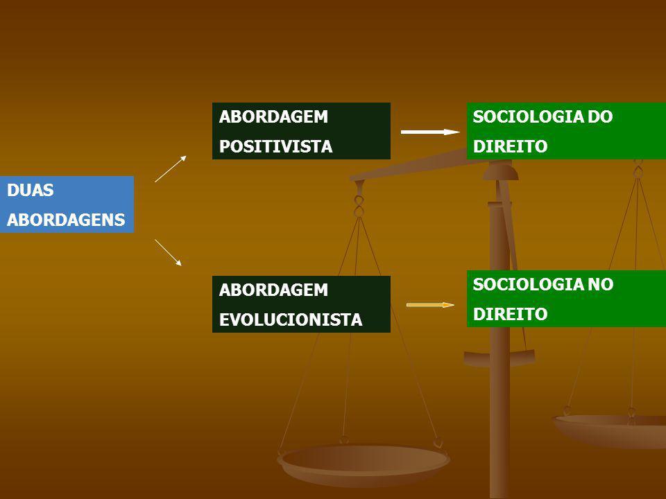 DUAS ABORDAGENS ABORDAGEM POSITIVISTA ABORDAGEM EVOLUCIONISTA SOCIOLOGIA DO DIREITO SOCIOLOGIA NO DIREITO