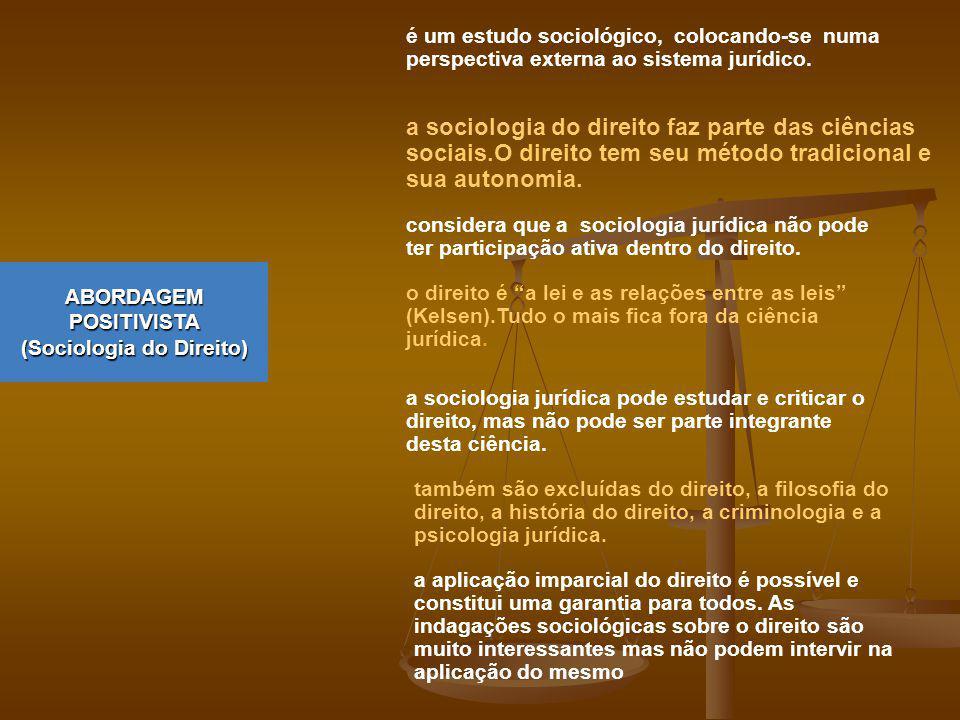 ABORDAGEM POSITIVISTA (Sociologia do Direito) é um estudo sociológico, colocando-se numa perspectiva externa ao sistema jurídico. a sociologia do dire