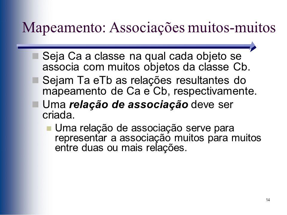 14 Mapeamento: Associações muitos-muitos Seja Ca a classe na qual cada objeto se associa com muitos objetos da classe Cb. Sejam Ta eTb as relações res