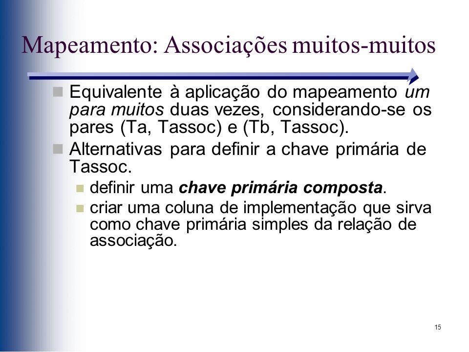 15 Mapeamento: Associações muitos-muitos Equivalente à aplicação do mapeamento um para muitos duas vezes, considerando-se os pares (Ta, Tassoc) e (Tb,