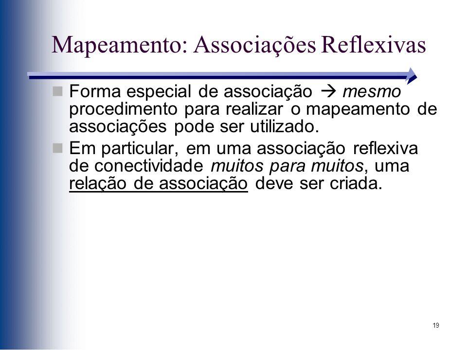 19 Mapeamento: Associações Reflexivas Forma especial de associação mesmo procedimento para realizar o mapeamento de associações pode ser utilizado. Em