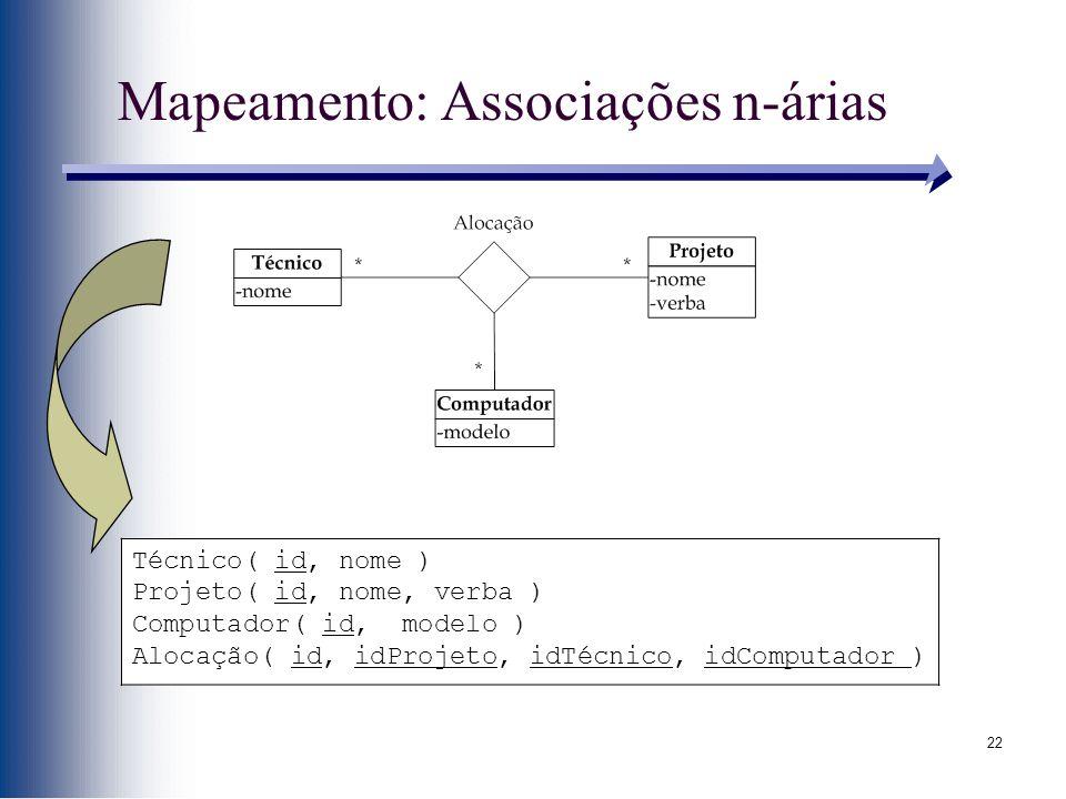 22 Mapeamento: Associações n-árias Técnico( id, nome ) Projeto( id, nome, verba ) Computador( id, modelo ) Alocação( id, idProjeto, idTécnico, idCompu