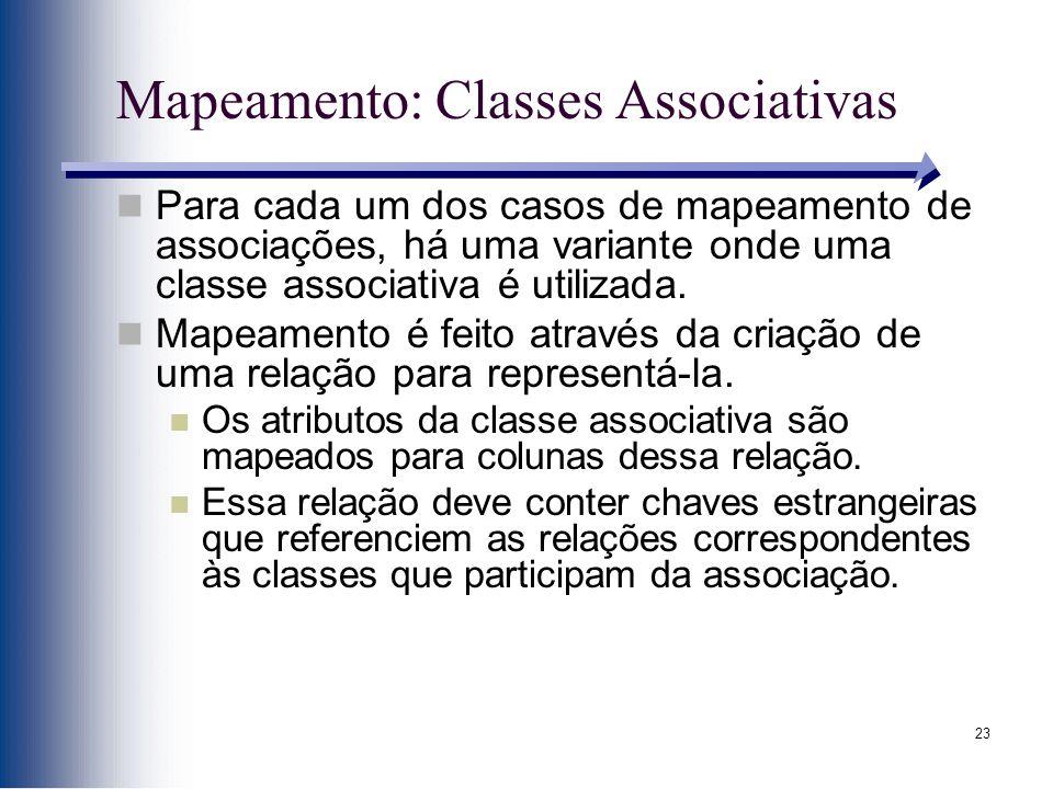 23 Mapeamento: Classes Associativas Para cada um dos casos de mapeamento de associações, há uma variante onde uma classe associativa é utilizada. Mape