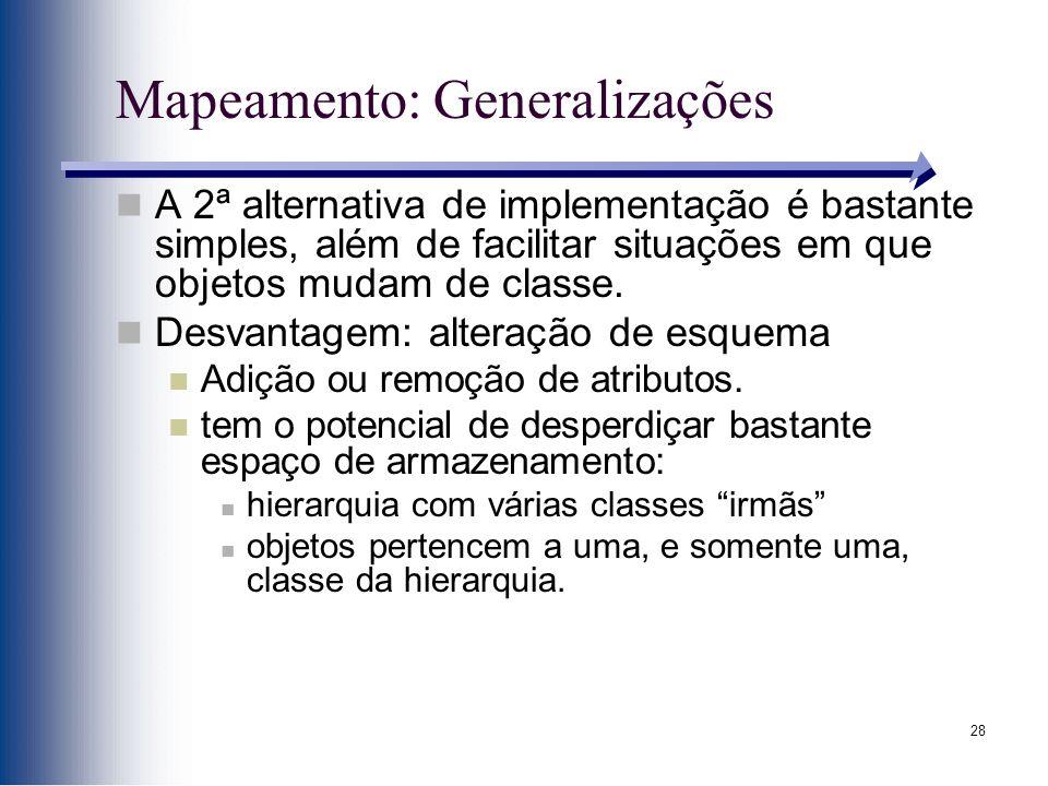 28 Mapeamento: Generalizações A 2ª alternativa de implementação é bastante simples, além de facilitar situações em que objetos mudam de classe. Desvan