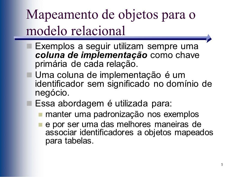 5 Mapeamento de objetos para o modelo relacional Exemplos a seguir utilizam sempre uma coluna de implementação como chave primária de cada relação. Um