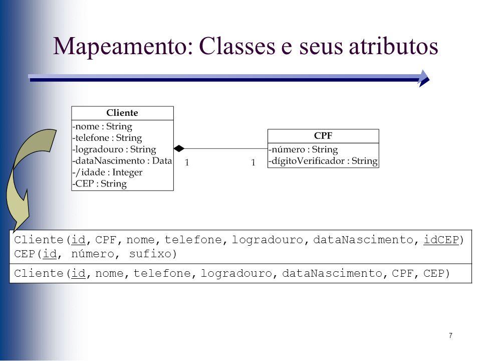 7 Mapeamento: Classes e seus atributos Cliente(id, CPF, nome, telefone, logradouro, dataNascimento, idCEP) CEP(id, número, sufixo) Cliente(id, nome, t