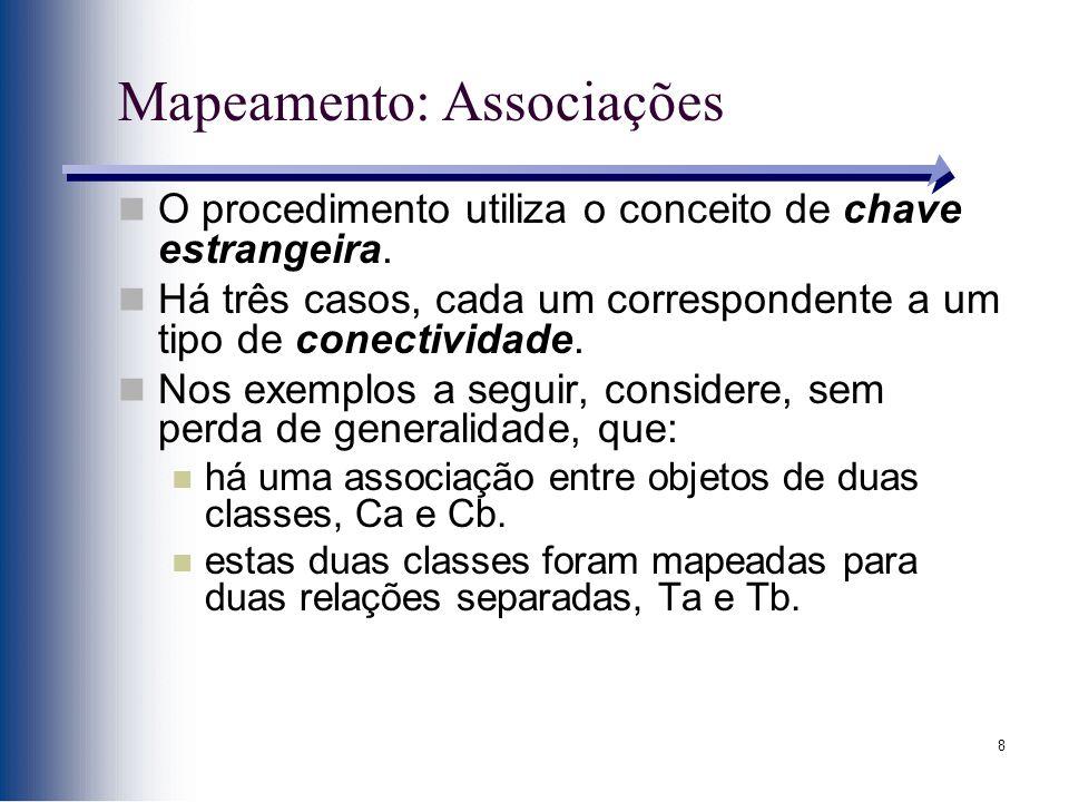 8 Mapeamento: Associações O procedimento utiliza o conceito de chave estrangeira. Há três casos, cada um correspondente a um tipo de conectividade. No