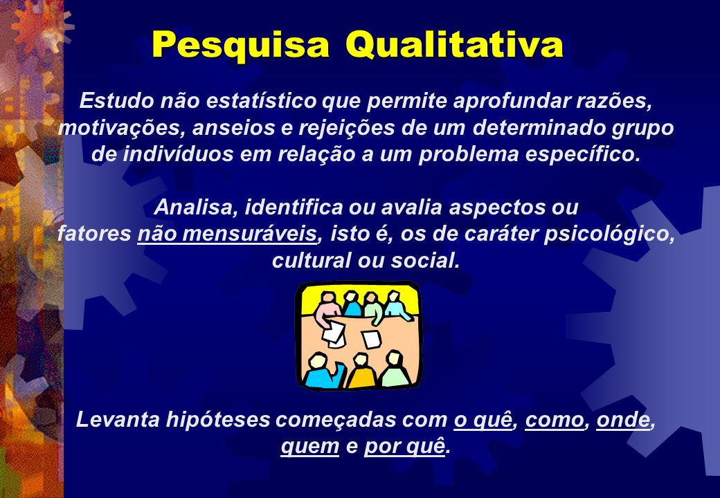 Pesquisa Qualitativa Estudo não estatístico que permite aprofundar razões, motivações, anseios e rejeições de um determinado grupo de indivíduos em re