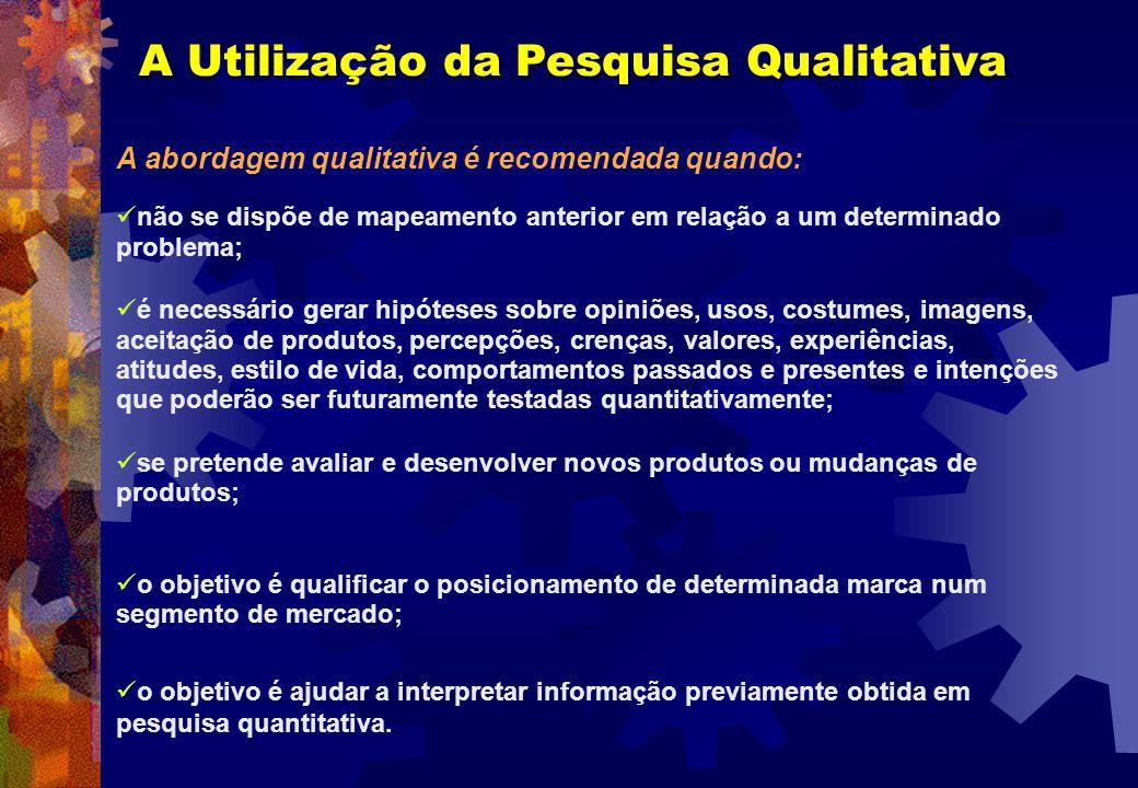 A Utilização da Pesquisa Qualitativa A abordagem qualitativa é recomendada quando: não se dispõe de mapeamento anterior em relação a um determinado pr
