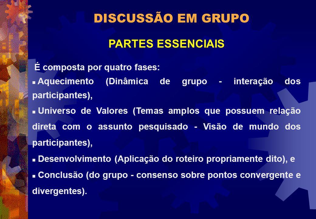 DISCUSSÃO EM GRUPO PARTES ESSENCIAIS É composta por quatro fases: n Aquecimento (Dinâmica de grupo - interação dos participantes), n Universo de Valor