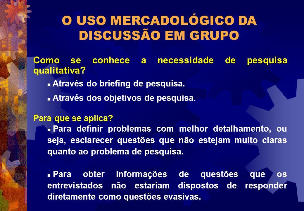 O USO MERCADOLÓGICO DA DISCUSSÃO EM GRUPO Como se conhece a necessidade de pesquisa qualitativa? n Através do briefing de pesquisa. n Através dos obje