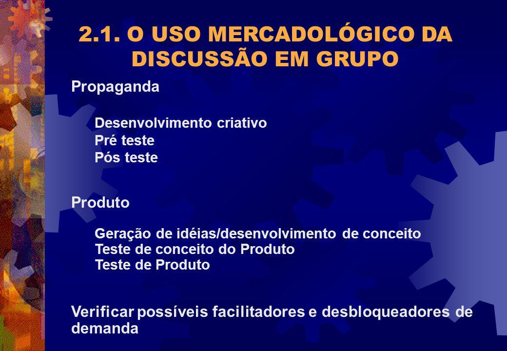 Propaganda Desenvolvimento criativo Pré teste Pós teste Produto Geração de idéias/desenvolvimento de conceito Teste de conceito do Produto Teste de Pr