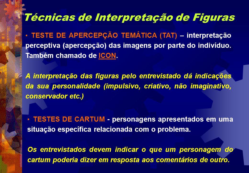 Técnicas de Interpretação de Figuras TESTE DE APERCEPÇÃO TEMÁTICA (TAT) – interpretação perceptiva (apercepção) das imagens por parte do indivíduo. Ta