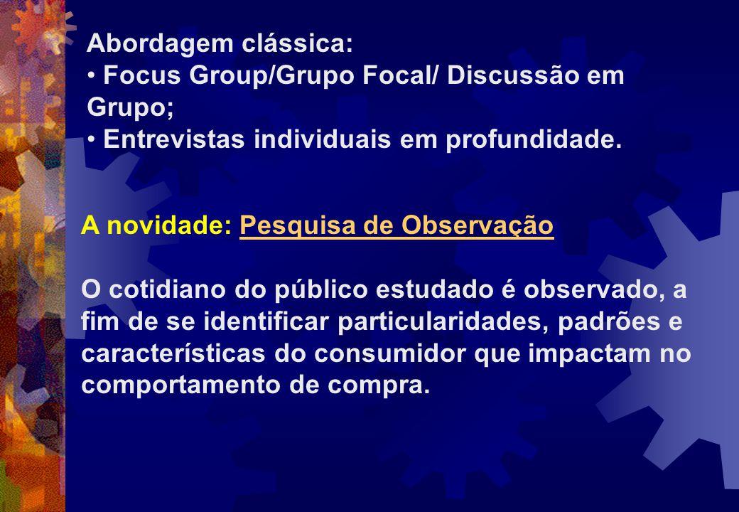 Abordagem clássica: Focus Group/Grupo Focal/ Discussão em Grupo; Entrevistas individuais em profundidade. A novidade: Pesquisa de Observação O cotidia