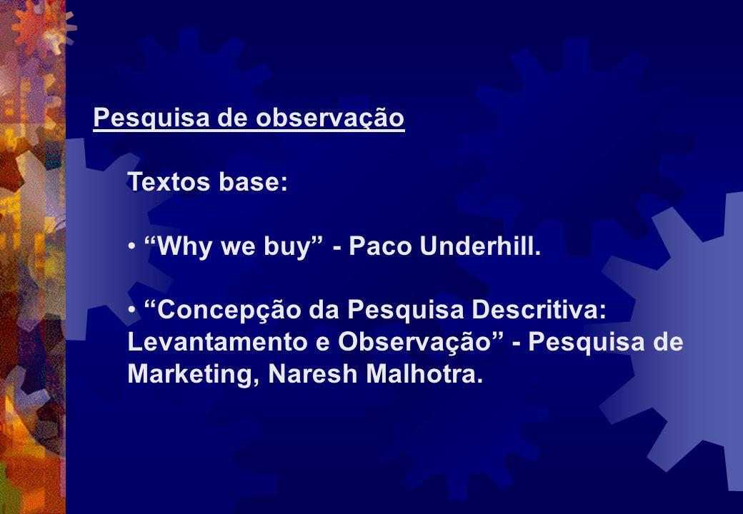 Pesquisa de observação Textos base: Why we buy - Paco Underhill. Concepção da Pesquisa Descritiva: Levantamento e Observação - Pesquisa de Marketing,