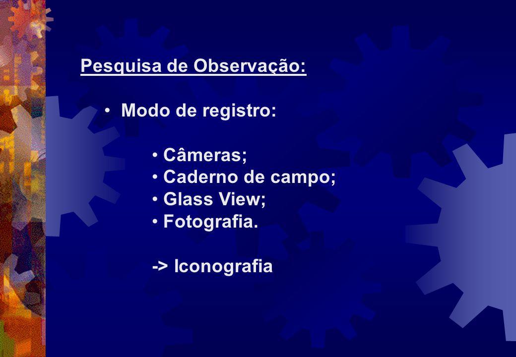 Pesquisa de Observação: Modo de registro: Câmeras; Caderno de campo; Glass View; Fotografia. -> Iconografia