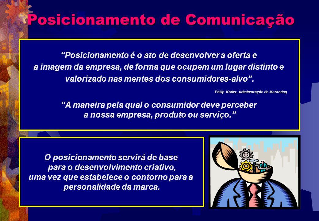 Posicionamento de Comunicação Posicionamento é o ato de desenvolver a oferta e a imagem da empresa, de forma que ocupem um lugar distinto e valorizado